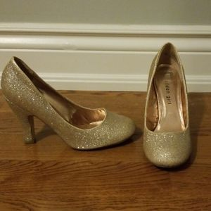 Madden Girl Sparkly Gold Heels